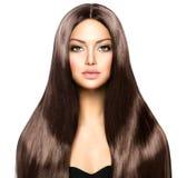 Kvinna med långt brunt hår Royaltyfria Bilder