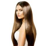 Kvinna med långt hår Fotografering för Bildbyråer