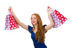 Kvinna med många shoppingpåsar Royaltyfri Foto