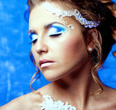 Kvinna med makeup arkivbild
