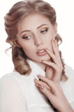 Kvinna med makeup royaltyfria bilder