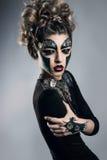 kvinna med makeup Steampunk fotografering för bildbyråer