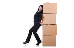 Kvinna med massor av askar Arkivfoto