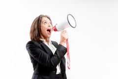 Kvinna med megafonen fotografering för bildbyråer