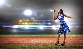 Kvinna med megafonen Royaltyfria Bilder