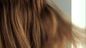 Kvinna med naturligt sunt guld- brunt rakt l?ngt krabbt h?r Kvinnlig sk?nhetfrisyr och haircare arkivfilmer