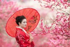 Kvinna med paraplyet på en bakgrund för blomningträdfilialer fotografering för bildbyråer