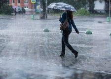 Kvinna med paraplyet som går på gatan under hällregn Arkivfoto