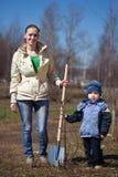Kvinna med pojken som planterar treen Royaltyfri Bild