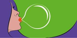 Kvinna med purpurfärgad konst för pop för hårståendebubbelgum royaltyfri illustrationer