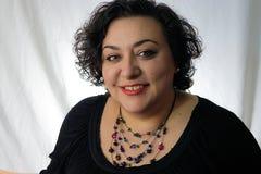 Kvinna med röd läppstift Fotografering för Bildbyråer