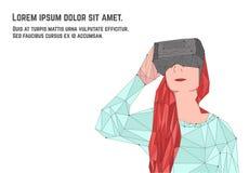 Kvinna med rött hår i virtuell verklighetexponeringsglas Royaltyfri Foto