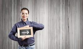 Kvinna med ramen Royaltyfri Foto