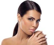 Kvinna med ren hud Arkivfoto