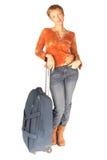 Kvinna med resväskan Royaltyfri Fotografi