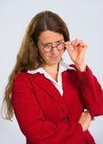 Kvinna med runda exponeringsglas royaltyfria foton