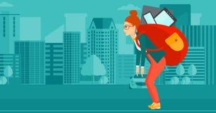 Kvinna med ryggsäcken som är full av apparater vektor illustrationer