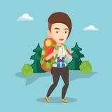 Kvinna med ryggsäcken som fotvandrar vektorillustrationen royaltyfri illustrationer