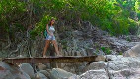 Kvinna med ryggsäcken som går på träbron över floden, medan fotvandra i berg Resande kvinna som går på att hänga stock video