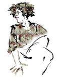 Kvinna med sammanträde för lockigt hår Royaltyfri Bild