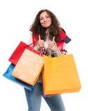Kvinna med shoppingpåsar Arkivfoton