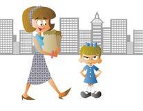 Kvinna med shoppingpåsen vektor illustrationer