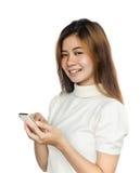 Kvinna med smartphone Arkivbild
