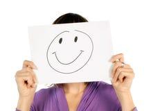 Kvinna med smiley Fotografering för Bildbyråer
