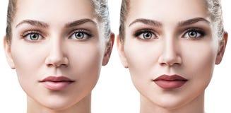 Kvinna med smink för akne före och efter royaltyfri bild