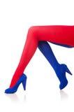 Kvinna med strumpor Arkivfoto