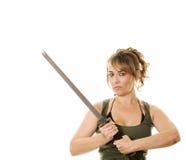 Kvinna med svärd Arkivbild