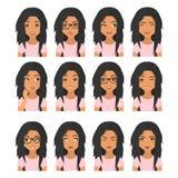 Kvinna med svart brunt hår och sinnesrörelser Användaresymboler Avatarvektorillustration royaltyfri illustrationer