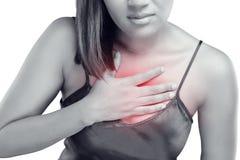 Kvinna med symptomatiskt syrligt lågvatten eller halsbränna Royaltyfri Bild