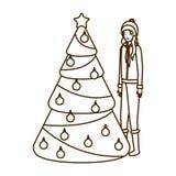 Kvinna med teckenet f?r avatar f?r jultr?d royaltyfri illustrationer