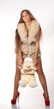 Kvinna med teddybear Royaltyfria Foton