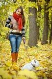 Kvinna med terriern Arkivbilder