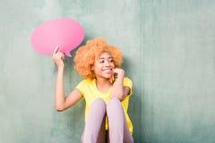 Kvinna med thoughful bubblor Royaltyfri Fotografi