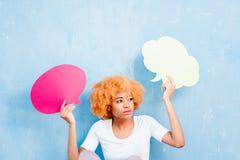 Kvinna med thoughful bubblor Fotografering för Bildbyråer