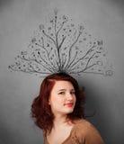 Kvinna med tilltrasslade linjer Royaltyfria Foton