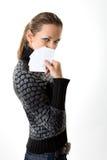 Kvinna med tomma kort Arkivfoton