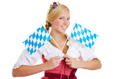 Kvinna med två bavarianflaggor Royaltyfri Bild