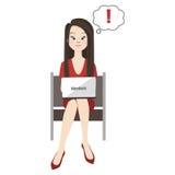 Kvinna med ultrabook royaltyfri illustrationer