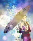 Kvinna med vårblommor royaltyfri illustrationer