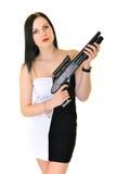 Kvinna med vapnet Arkivfoto