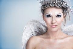 Kvinna med vintersmink royaltyfri bild