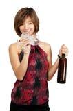 Kvinna med Wine 免版税库存照片