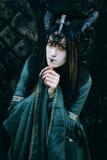 Kvinna-medicinman med horn Royaltyfria Foton