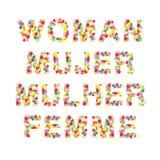 Kvinna Mujer Mulher Femme Word Arkivbild