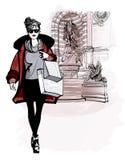 Kvinna nära Saint Michel i Paris stock illustrationer