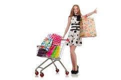 Kvinna, når att ha shoppat Arkivbilder